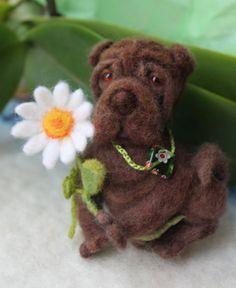 Brooch Shar Pei DOG/Felted Miniature Animal by UkrainianHouseofArt