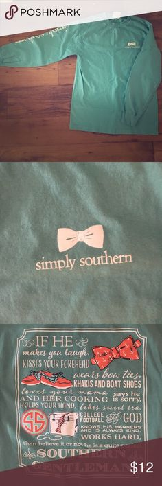 Simply Southern Long Sleeve Tee Simply Southern Long Sleeve Tee! Good used condition! Teal Simply Southern Tops Tees - Long Sleeve