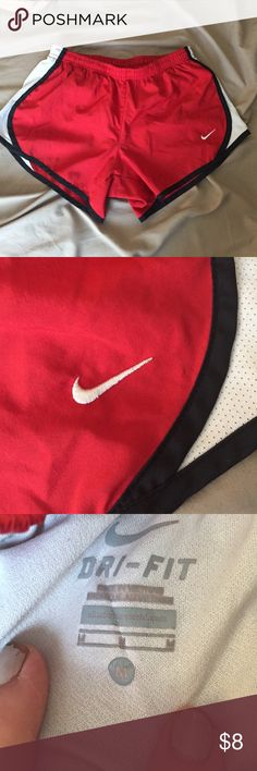 Nike dry fit running shorts! Really awesome shorts! Fits more like a small. Come with the little pocket on the inside and they are lined. Great price! Bundle and save! Everything must go! !! Nike Shorts
