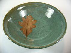 Pottery Bowl with Oak Leaf Imprint Wheel Thrown Stoneware on Etsy, $24.00