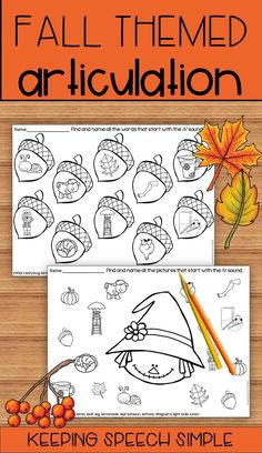 Check out these fall themed worksheets for your speech room! These versatile sheets can be used for a variety of activities. Roll and cover, color or use ink daubers with these. Use these sheets with your preschoolers, kindergarten students and early elementary students. These are great for sending home as speech homework. No prep required! A quick and easy printable!