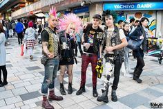 Met this group of punks w/ studded leather & #colorful spiked hairstyles on the street in #Harajuku over the weekend. The guy on the left is Kentaro from the Japanese pogo punk band The Erections!