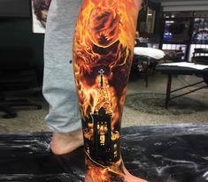 burning tattoo by ben kaye