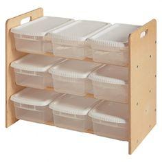 Nine Bin Shelf + Storage Bins with lids.