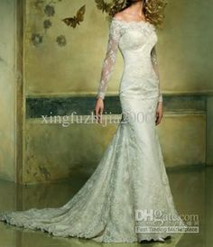 Wholesale 2012 Mermaid lace off the shoulder Long Sleeve Court Train Wedding Dresses Bridal Gown Bride dress, Free shipping, $130.8-166.75/Piece | DHgate