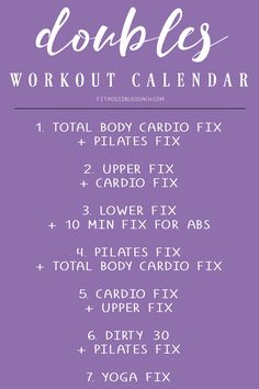 21 Day Fix DOUBLES WEEK Workout Calendar. This can be done on Week 3 of the 21 Day Fix OR you can do it as a 4th week of the 21 day fix.