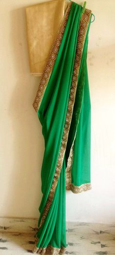 Forest green georgette saree with gold pearl by GiaExquisiteIndian