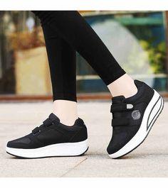3504dbdc456c92 Black double velcro rocker bottom shoe sneaker
