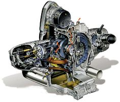 BMW Motorcycle Engine Illustrations with cutaways to show internal workings…I did lots of drawing like this back in the day.