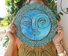 sol y Luna pared decoración - arte de la pared - jardín - decoración exterior - extra grande - sol y Luna arte #1