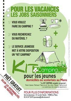 Réalisation affiches, flyers, pub, bandeau KIT CAMPING JEUNES, 2012, Le Mans