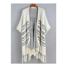 SheIn(sheinside) White Batwing Striped Tassel Sweater (€25) ❤ liked on Polyvore featuring tops, sweaters, white, striped top, fringe top, short sleeve tops, fringe sweater and white christmas sweater