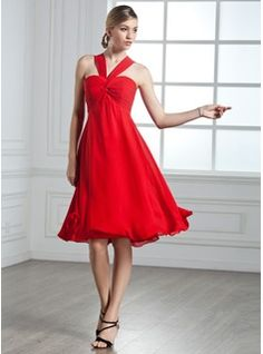 Empire V-neck Knee-Length Chiffon Cocktail Dress. This comes in Dark Navy.