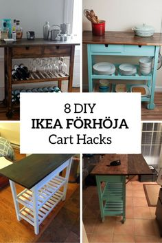 8 Quick DIY IKEA FÖRHÖJA Kitchen Cart Hacks - Shelterness