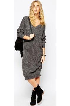 Casual jurken - ASOS Midi Dress In Mohair With V-Neck