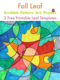 This scribble pattern art project is a wonderful idea for fall! Included are 3 free printable leaf templates for you to download! #freefallprintables #freeprintables #autumnleafart #fallleafcraftsforkids #colorfulartideas
