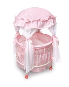Doll Furniture   Badger Basket Royal Pavilion Round Doll Crib With Canopy  And Bedding Fits American