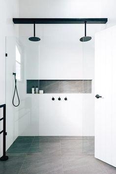 Black Showerhead, Rain Shower, Glass Door With Ledge Below