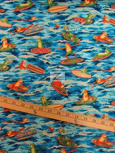 100% #Cotton Fabric By #AlexanderHenry / Ribbit Surf / Sold By The Yard