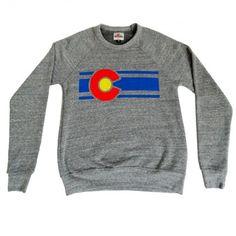 Heather Gray Colorado Flag Lounge Crew Neck Sweatshirt
