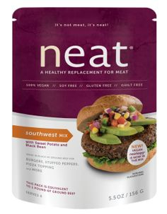 Neat Southwest Mix - vegan burgers made with the neat egg in the mix, and made with pecans, sweet potato, black beans and spices.
