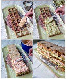 Roberta Giovaneli: Tortas Frias No Salt Recipes, Cooking Recipes, Cooking Tips, Sandwhich Cake, Salad Cake, Food Garnishes, Tea Sandwiches, Food Humor, Health Desserts
