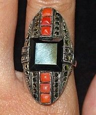 THE RAT STUFF: Deco Fahrner Sterling Hematite Coral Marcasite Ring
