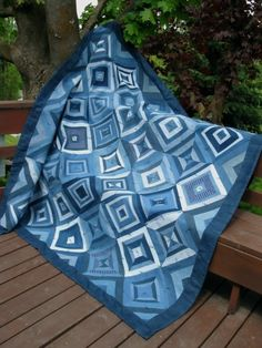 Shades of Denim Quilt by FourCraftSisters on Etsy