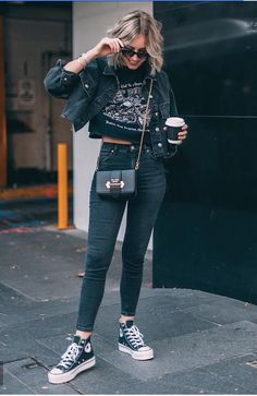 Pin by maddie on clothes (: fashion, converse shoes outfit, Mode Converse, Converse Shoes Outfit, Outfits With Converse, Edgy Outfits, Mode Outfits, Fashion Outfits, Yellow Converse, Converse Chuck, Band Shirt Outfits
