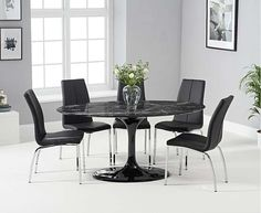 Brighton Black Oval Marble Dining Table and Cavello Chairs with a black marble table top and faux leather chairs with chrome legs Round Marble Table, Round Dining Table, Dining Room Table, Kitchen Dining, Faux Leather Dining Chairs, Gray Dining Chairs, Black And Silver Living Room, Oak Furniture Superstore, Brighton