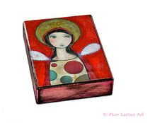 Angel Girl II  Aceo Giclee print mounted on Wood 25 by FlorLarios, $8.00
