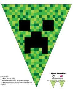 Banner, Minecraft, Party Decorations - Free Printable Ideas from Family Shopping. Minecraft Party Decorations, Minecraft Banners, Minecraft Crafts, Minecraft Skins, Minecraft Buildings, Free Minecraft Printables, Candy Minecraft, Minecraft Banner Crafting, Minecraft Party Ideas