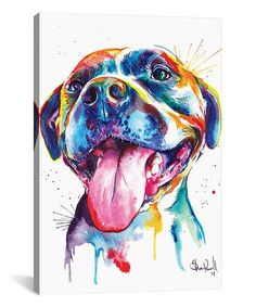 Look what I found on #zulily! Pitbull Watercolor Wrapped Canvas #zulilyfinds