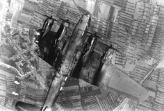 Incredibly powerful shot - American B-17 going down with most of one wing gone