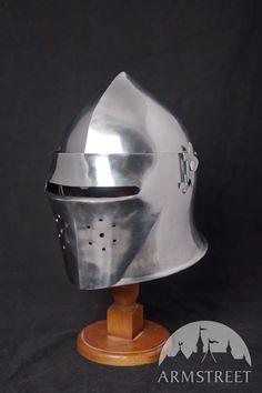 Mittelalter Helm Barbuta Italien mit Gesichtsschutz