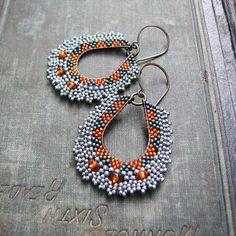 Orange Beaded Hoops Green and Silver Geometric by windyriver - seed bead earrings, beaded hoops Brick Stitch Earrings, Seed Bead Earrings, Fringe Earrings, Beaded Earrings, Beaded Jewelry, Crochet Earrings, Beaded Bracelets, Seed Beads, Hoop Earrings