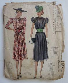 McCall 3165   ca. 1939 Ladies' & Misses' Dress
