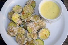 Baked Zucchini Chips with Sweet Garlic & Dill Aioli