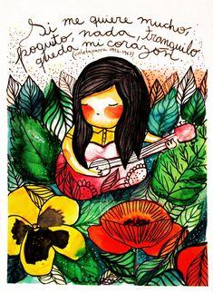 Canciones compuestas por Violeta con sus respectivas letras Photography Illustration, Illustration Art, Arte Latina, Sidewalk Paint, Protest Posters, Drawing Skills, Through The Looking Glass, Elements Of Art, Beautiful Birds