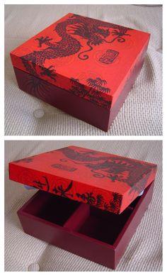 """Caixa de Chá Dragão Chinês Decoupage"" - by Patricia Wong"