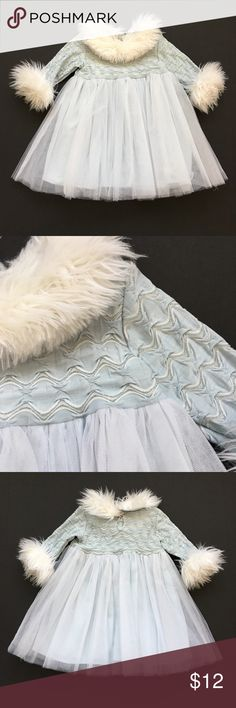 Girls 12m Ice Blue Formal Dress Beautiful dress for winter family portraits or first birthday pictures. Pale blue formal dress with textured bodice and long sleeves with silver threads. White faux fur trimmed collar and cuffs. White tulle skirt. Made in the USA by bébémonde. Dresses Formal