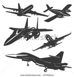 A set of five passenger and military aircraft monochrome, in different positions. Vector illustration