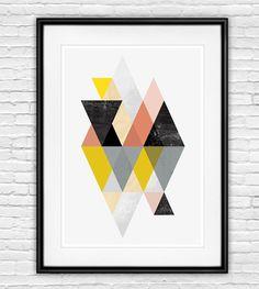 geometric print, abstract art, geometric art, abstract poster, scandinavian print, minimalist art, watercolor abstract, mid century modern by handz on Etsy https://www.etsy.com/listing/205715571/geometric-print-abstract-art-geometric