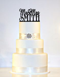 "Wedding Cake Topper Monogram  personalized with ""Mr & Mrs"" and YOUR Last Name"
