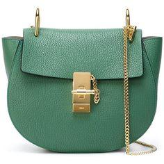 Chloé Medium Drew Shoulder Bag ($1,675) ❤ liked on Polyvore featuring bags, handbags, shoulder bags, green, green leather handbag, leather purse, genuine leather handbags, chloe handbags et green shoulder bag