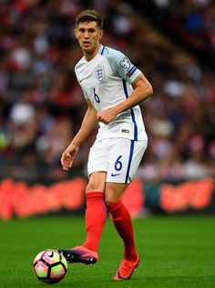 John Stones of England in England National Football Team, England Football, National Football Teams, John Stones, England International, Premier League, World Cup, Lions, Running