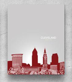 Ohio Wall Art cleveland, ohio skyline poster print: wall art choose a size
