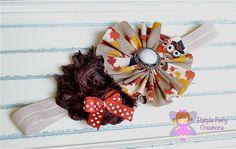 Thanksgiving Ruffle Fabric and Shabby Chic Chiffon Flower Headband - Baby Girl, Newborn, Infant, Toddler, Child - Fall, Owl, Holiday, Leaf by PurpleFairyCreations, $6.00