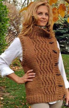 Ravelry: Timber Run pattern by Joann Rogers Easy Knitting Patterns, Knitting Designs, Free Knitting, Bolero Pattern, Knit Vest Pattern, Crochet Clothes, Diy Clothes, Crochet Poncho, Knit Fashion
