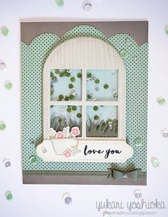 "Sparkle & Shine Challenge FIVE: ""Love You"" Floral Shaker Card by Handmade by Yuki 